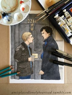 http://amisplacedlonelyheartsad.tumblr.com/post/150092817993/my-painting-of-john-and-sherlock-for-an-art-trade (7 sept 2016)