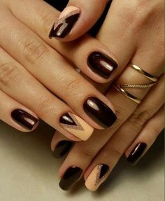 If you look for a showy manicure, you can choose such variant. The combination of cherry red and beige looks ...