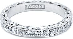 Tacori Channel Set Diamond Wedding Band: Round diamonds channel set in miligrain and diamond reverse crescents make this beautiful band a stunning match for our blooming beauties. #WANT