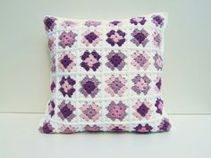 crochet granny squares cushion cover by BabanCat on Etsy, £40.00