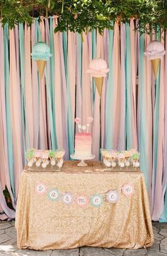 Simple Little Details designed this ice cream themed party in pretty pastels and sparkling gold glitter. It was such a lovely, feminine take on a popular birthday theme and filled with ice cream inspired details! Birthday Party Tables, First Birthday Parties, Birthday Party Decorations, Baby Shower Decorations, Girl Birthday, Party Themes, Birthday Ideas, Party Ideas, Pastell Party