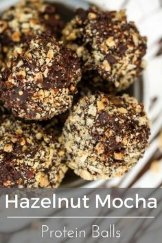 Hazelnut Mocha Protein Balls - gluten free and a delicious way to hold you over between meals!