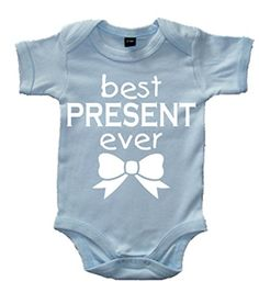 Sky Blue Baby Bodysuit with White Print 'BEST PRESENT EVER'