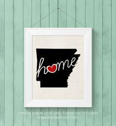 Arkansas (AR) Love / Home Burlap or Canvas Paper State Silhouette Wall Art Print