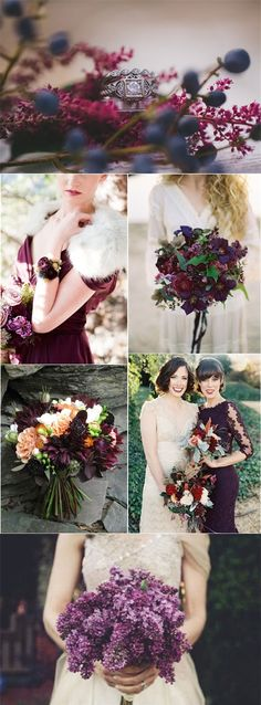 fall winter dark purple wedding color ideas - Deer Pearl Flowers