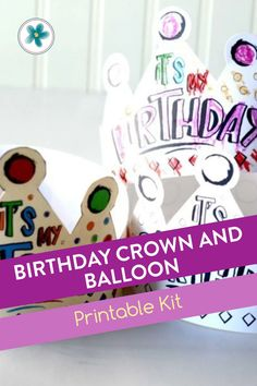 """Attach a treat to the balloon printable. This adds a """"string"""" to the balloon. The balloon and treat, combined with the crown, ensures that your kiddos will feel extra special on their special day! This is a fun, inexpensive, and super fun way to celebrate kids birthdays! #BirthdayCrown #BirthdayPrintables #BalloonPrintables #Birthday #PartyIdeas Boy Birthday, Birthday Cards, Birthday Parties, Birthday Gifts, Black And White Balloons, Lds Primary, Money Cards, Party Ideas, Gift Ideas"""