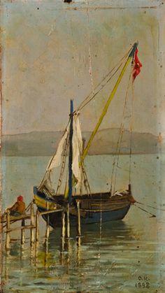 OSMAN HAMDİ ESKİHİSAR'DAN MANZARA Lot 542 Monogramlı, 1898 tarihli. Ahşap üzerine yağlıboya. Boyut: 21 x 12 cm.