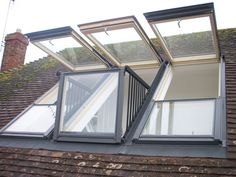 It's now possible to transform a skylight into a small balcony by simply opening its frame. Danish window company Velux has designed Cabrio, a do Attic Loft, Loft Room, Attic Rooms, Attic Spaces, Bedroom Loft, Skylight Window, Roof Window, Balcony Window, Balcony Design