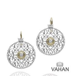 3 cm Sterling Silver Earrings with 14k Gold and 0.08 Ct Diamonds. #VAHAN #VahanStyle #Earrings #Gold #Silver #Diamonds