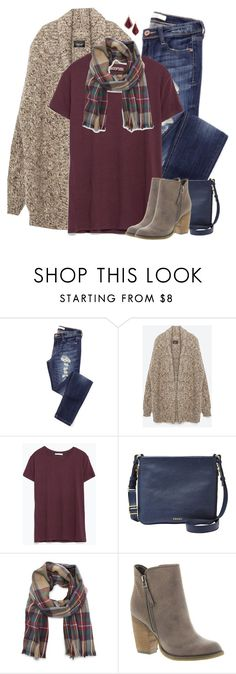 """""""Zara oversized cardigan, burgundy tee & plaid scarf"""" by steffiestaffie ❤ liked on Polyvore featuring Zara, FOSSIL, Sole Society, Sbicca and Kendra Scott"""