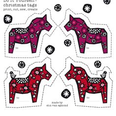 swedish christmas horses fabric by elinvanegmond on Spoonflower - custom fabric -- Use for gift tags, garlands, ornaments... Easy craft party fun!