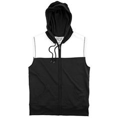 db016a4ec4396 boxercraft Youth Black and White Sleeveless Zip Hoodie Family Clothesline,  Zip Hoodie, Womens Fashion