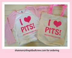New bags & Baseball Tee's!   Email: Shannon @thepitbullcrew.com  or visit: www.THEPITBULLCREW.com