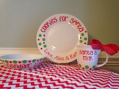 Personalized Cookies and Milk for Santa Plate, Mug, and Reindeer Treats bowl on Etsy, $28.00
