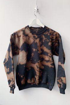 Copper + Black Inverse Tie Dye Fleece: Crew or Hoodie Bleach Hoodie, Bleach Tie Dye, Bleach Shirts, Tie Dye Shirts, Tie Dye Sweatshirt, Tye Dye, Band Shirts, Black Tie Dye Shirt, Black Bleached Shirt