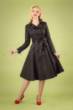 Collectif Clothing 40s Korrina Swing Trench Coat in Black