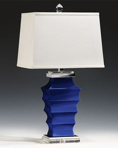 Indigo blue ceramic lamp with crystal accents, polished nickel trim and rectangular hardback fabric shade; ceramic lamps; table lamps