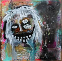 """""""Lucky Rabbit Foot"""" original painting on wood.  lana guerra Outsider Art, Dark Abstract Painting, Expressive face Large, primitive ugly raw #OutsiderArt"""
