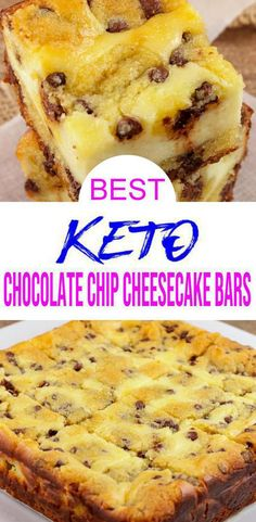 Chocolate Chip Cheesecake Bars, Homemade Cheesecake, Keto Chocolate Chips, Low Carb Chocolate, Keto Cheesecake, Healthy Cheesecake Recipes, Low Carb Sweets, Low Carb Desserts, Low Carb Recipes