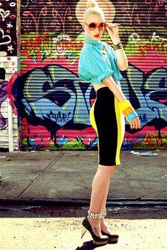 Yellow and Black Pencil Skirt. Turquoise Blouse. Chunky Bangles. Retro Sunglasses. Iggy Azalea Style