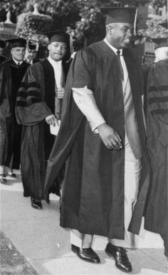 Jackie Robinson, former Brooklyn Dodgers infielder, now a New York restaurant chain executive, is followed by Martin Luther King, Jr., leader of the Montgomery, Ala., bus boycott, as they walk in Howard University's academic procession, June 7, 1957. Both men received honorary doctorates of law at commencement exercises Read more: http://www.beaumontenterprise.com/photos/article/Dr-Martin-Luther-King-Jr-His-life-in-pictures-956071.php#ixzz1qXtShbG3