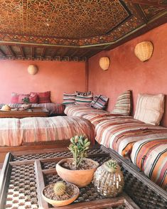 The coral colors of Riad Jardin in Marrakech, Morocco. Moroccan Room, Moroccan Interiors, Moroccan Decor, Moroccan Design, Moroccan Style, Style Marocain, Interior And Exterior, Interior Design, Marrakech Morocco