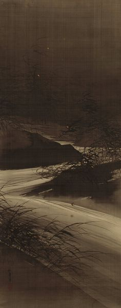 Fireflies over the Uji River by Moonlight  Meiji period (1868–1912)  Hanging scroll; ink, gold, and color on silk
