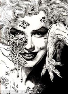 Zombie,Marilyn Monroe, Illustration, Drawing, Black and White- crosshatching Arte Zombie, Zombie Art, Airbrush, Marilyn Monroe Art, Nerd, Horror Art, Zombie Apocalypse, Art Design, Graphic Design