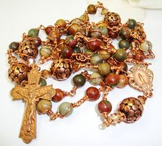 Catholic Rosary, Copper wire wrapped Picasso with Miraculous Center Abundant Grace Rosaries