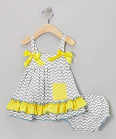 Gray & Yellow Zigzag Ruffle Swing Top & Diaper Cover by Royal Gem #zulily #zulilyfinds*** Too cute!!!!
