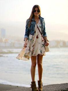 marilynscloset Outfit   Primavera 2013. Combinar Chaqueta-Cazadora Azul Petróleo Mango, Vestido Beige Natura, Cómo vestirse y combinar según marilynscloset el 7-5-2013