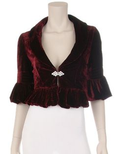 Bergundy velvet tea jacket