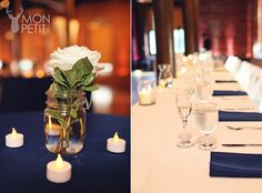 Rivermill - navy blue and white - mill wedding reception