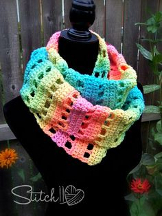 I am still completely IN LOVE with the Red Heart Super Saver, Stripes – Retro Stripes! It's simply delicious! I designed this fun and colorful infinity scarf with the basic crochet stitches: chain, single crochet and double crochet; so even the beginner crocheter can hook this one up! You could easily change this infinity sca