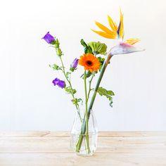 Styling tips: Vazen en bloemen   Flowers   Paradijsvogelbloem   Stek Magazine woonapp Happy Flowers, Simple Flowers, Cut Flowers, Beautiful Flowers, Arrangements Ikebana, Floral Arrangements, Flower Room Decor, Flower Decorations, Flower Power