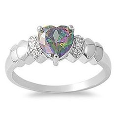 Rhodium Plated Sterling Silver Wedding & Engagement Ring Rainbow Topaz , Clear CZ Heart Ring 7MM ( Size 4 to 9) Double Accent. $19.99. Promprt Shipping. 925 Sterling Silver. Comes With Beautiful Jewelry Case