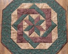 Quilted Table Topper Brown Green Pine Cones Quilt