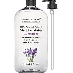 Majestic Pure Makeup Remover for Eye and Face, Skin Cleanser, Lavender Micellar Water, 8 Fluid Ounce -- Click image for more details.