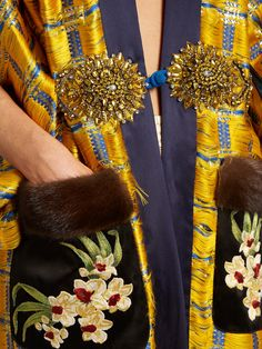 Embellished kimono-sleeve fur-trimmed coat | Gucci | MATCHESFASHION.COM Embroidery Applique, Beaded Embroidery, Ysl, Sequin Coats, Fur Trim Coat, Mother Of The Bride, Kimono, Women Wear, Haute Couture