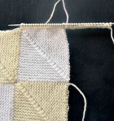 x Skills required - K nit, P earl, knit 3 together ( tog ), pick up and knit, 2 needle cast on. All are easy enoug. Knitting Graph Paper, Baby Hats Knitting, Baby Knitting Patterns, Loom Knitting, Knitting Stitches, Knitted Squares Pattern, Knitting Squares, 10 Stitch Blanket, Mitered Square