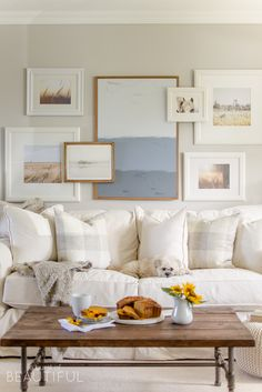 Eclectic Home Tour - A Burst of Beautiful - I love the layered gallery wall and her neutral farmhouse style