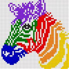 Rainbow Zebra For Perler Or Square Stitch Perler Bead Pattern / Bead Sprite