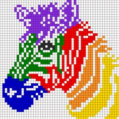 Rainbow Zebra For Perler Or Square Stitch Perler Bead Pattern / Bead Sprite