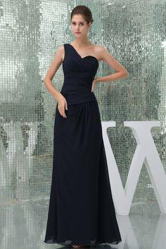 Dark Navy Floor-Length One Shoulder Chiffon Zipper Evening Dress