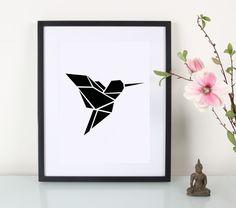 Artprint+/+Origami+/+Kolibri+von+Eulenschnitt+auf+DaWanda.com