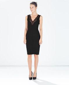 vestido fiesta encaje escote pico zara negro 45.95