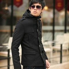 Discount China china wholesale Men Fashion Slim Fit Woolen Trench Coat Jacket Overcoat Black XS S M XL [30219] - US$44.99 : DealsChic