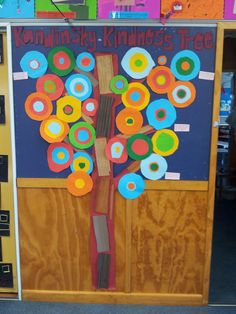 Our Kandinsky inspired kindness tree.   I taught a unit this term that I called the 'Kindness Curriculum' where each week we explicitly taught a different topic about kindness - such things as respect, empathy, gentleness, touch, friendship etc.  We discussed it and then did an activity to support it.  The topics were also part of our daily classroom language right throughout the day - indoor and outdoors