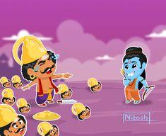 Vijayadashami (IAST: Vijayadaśamī, pronounced [ʋɪʝəjəðəʃmɪ]]) also known as Dasahara, Dusshera, Dasara, Dussehra or Dashain is a major Hindu festival celebrated at the end of Navratri every year. It is observed on the tenth day in the Hindu calendar month Cute Cartoon Drawings, Cartoon Images, Shiva, Krishna, Hindu Calendar Months, Ganesh Utsav, Lord Ganesha Paintings, Navratri Images, Festival Image