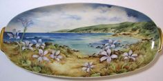 "14"" German Porcelain Platter.  Blue china Orchids indiginous to Yallingup (background)SW West Australia."